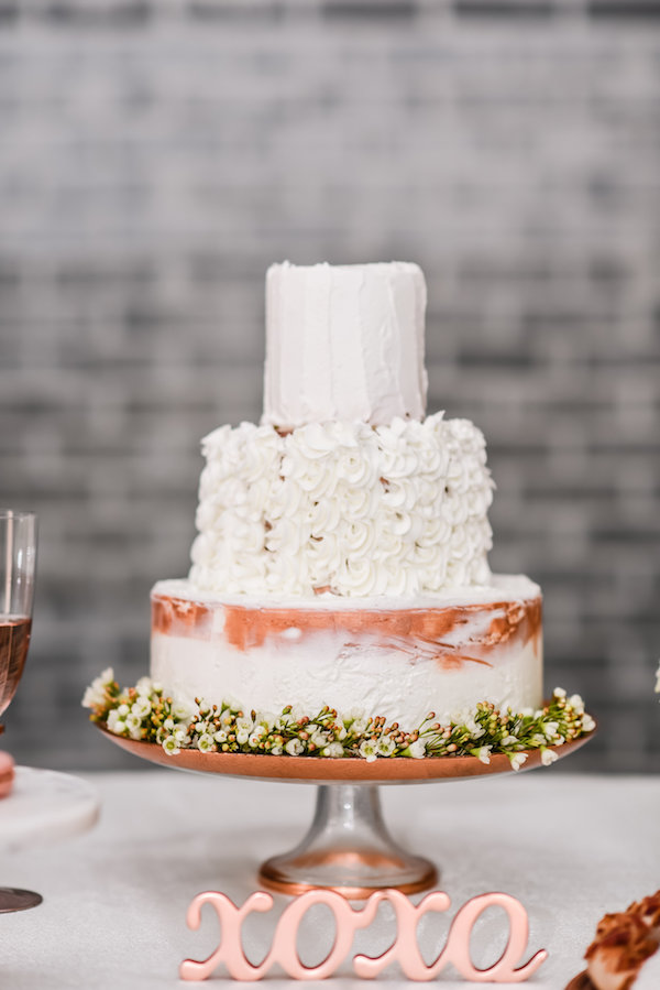 Copper and white wedding cake