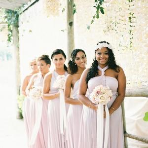 lilac wrap bridesmaid dresses on Aisle Perfect