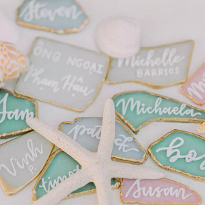 Sea glass escort cards