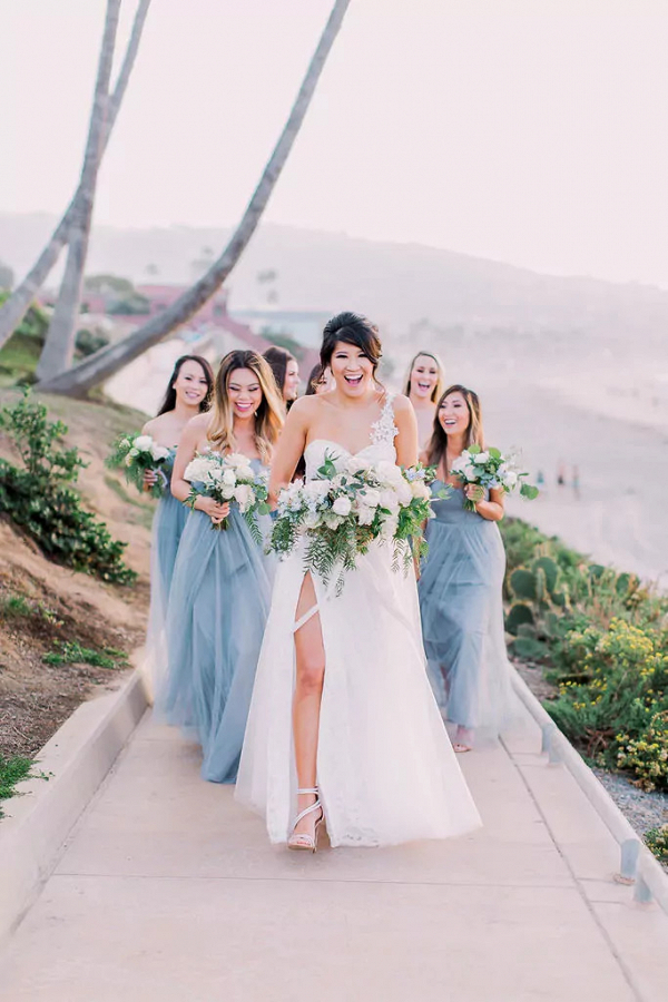 Blue tulle bridesmaid dresses