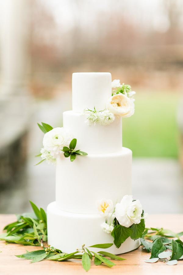 Three Tier All White Wedding Cake