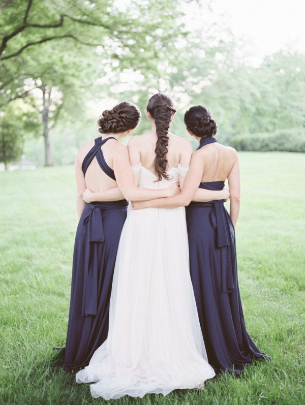 Navy bridesmaids on Aisle Perfect