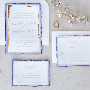blue and copper invitation suite on Aisle Perfect