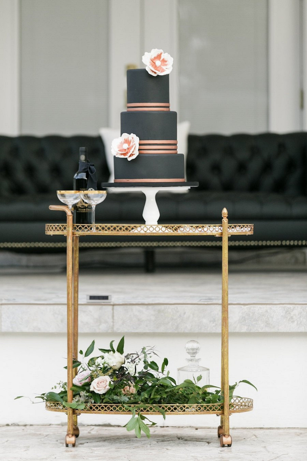 Black and copper wedding cake