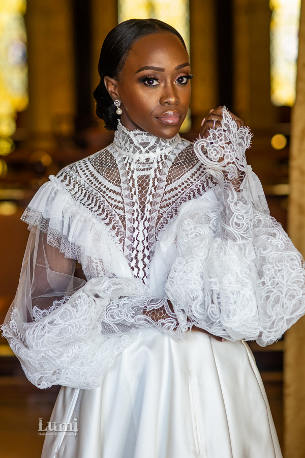Victorian Lace Wedding Dress with pleated bodice by J'aton Couture