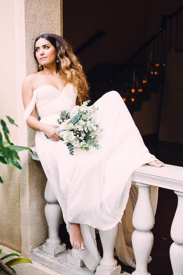 Bride in off the shoulder gown on Aisle Perfect