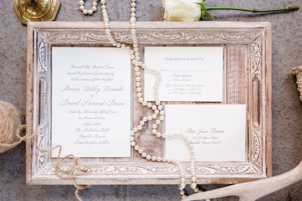 Elegant script wedding invitation on Aisle Perfect