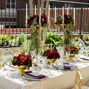 Glam red and gold tablescape