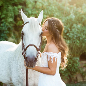 Bride with horse