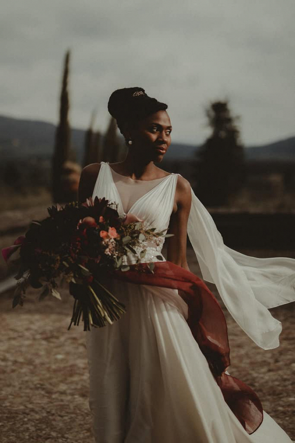 Flowing v-neck wedding dress