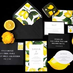 Black White and Yellow Invitation Suite