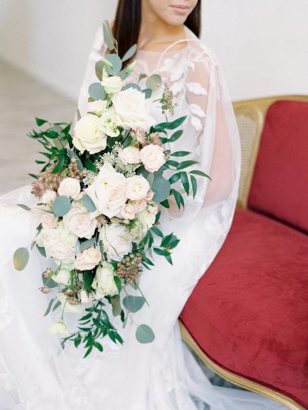 Lush oversized white rose bridal bouquet