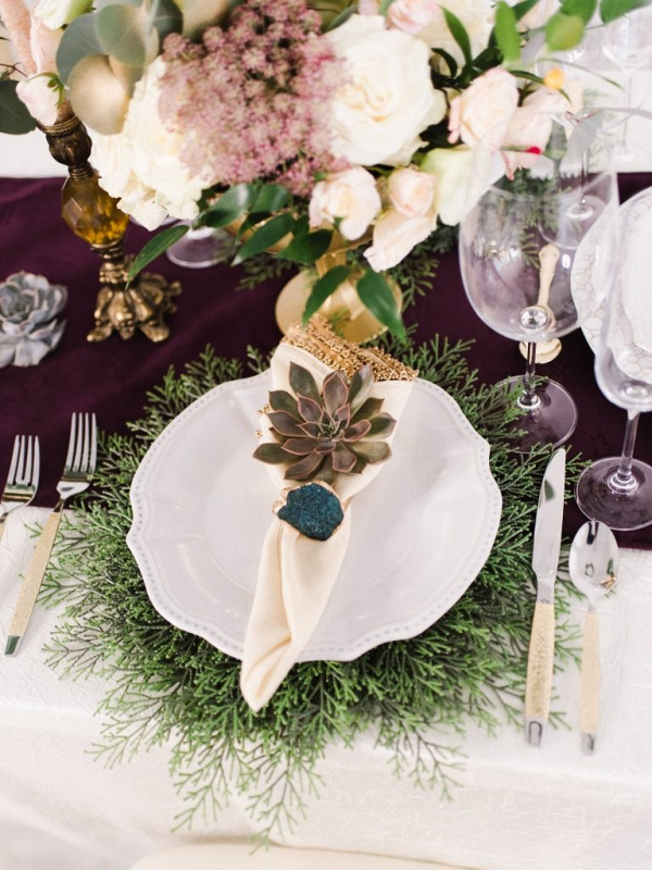 Purple and cream succulent place setting