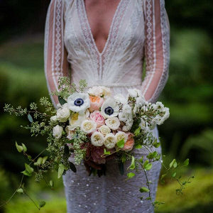 White and peach bridal bouquet