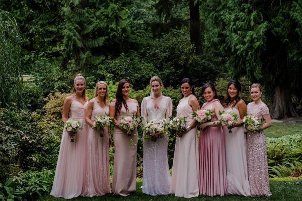 Mismatched blush bridesmaid dresses