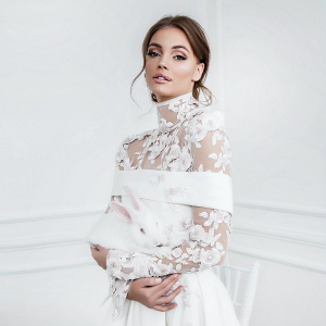 Mihano Mimosa applique wedding dress