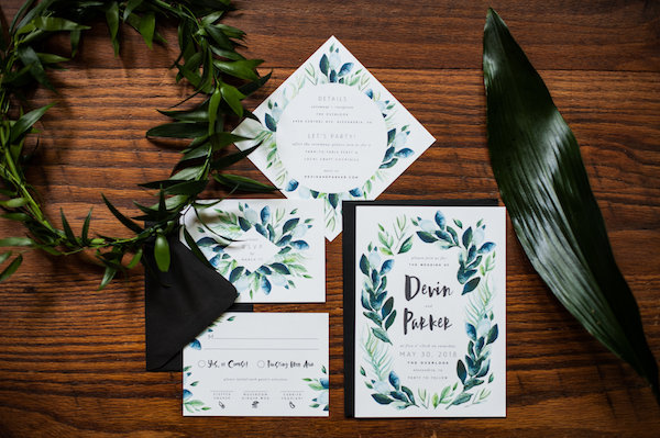 Greenery wedding invitations