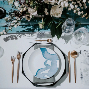 Modern blue and gold place setting