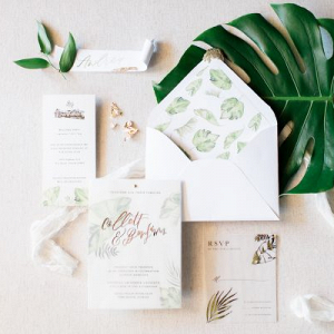 Modern greenery invitation