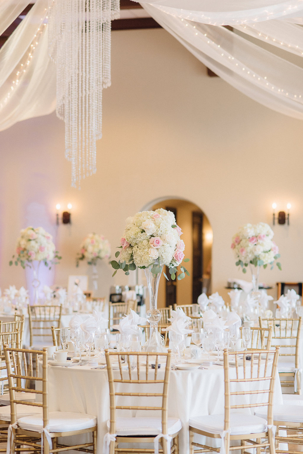 Tall cream and blush centerpieces