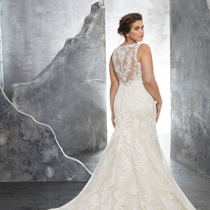 Illusion back wedding dress