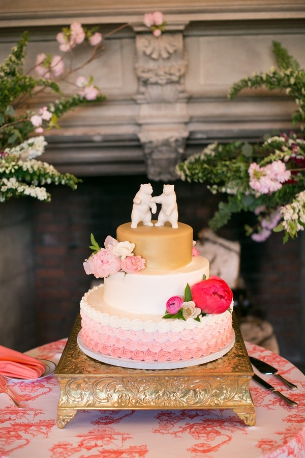 Wedding Cake with Bear Cake Toppers