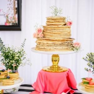Pancake Cake from Pancakes and Mimosas Bridal Shower