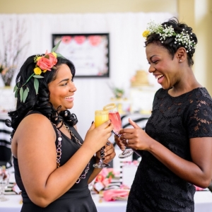 Black Bridesmaids with Floral Crowns at Pancakes and Mimosas Bridal Shower