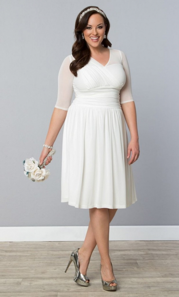 three quarter sleeve bridal shower outfit by kiyonna white maxi dress