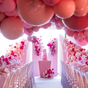 hanging balloon decor pink