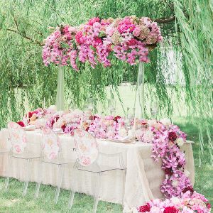 Pink floral reception table