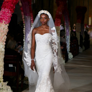 Strapless lace wedding dress from Reem Acra