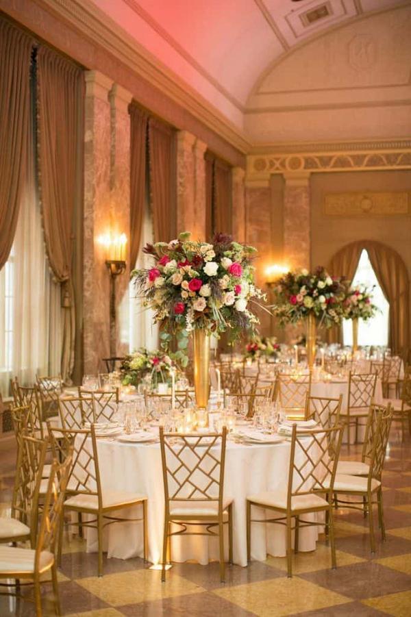 Pink and gold ballroom reception