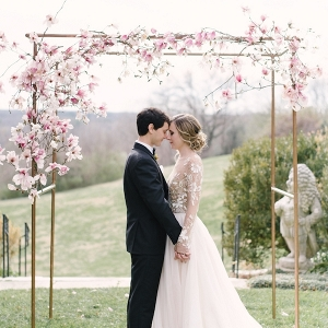 romantic blush ceremony decor on Aisle Perfect
