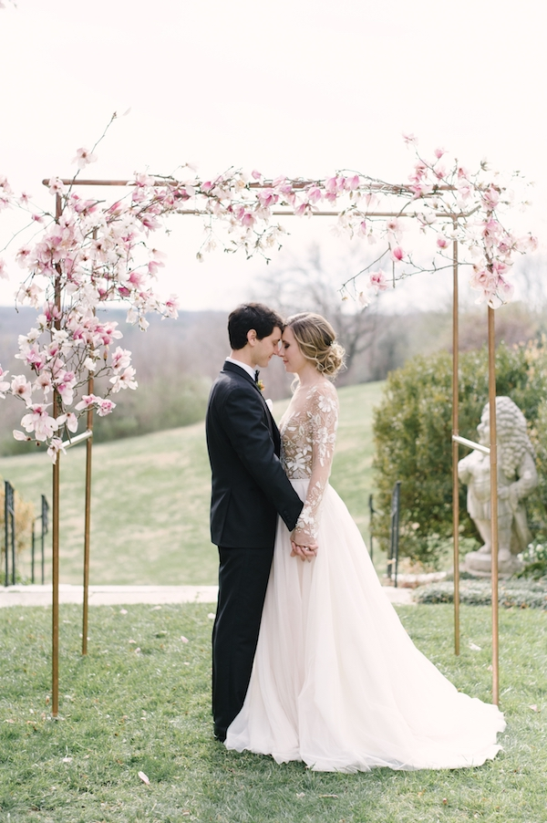 romantic blush ceremony decor on Aisle Perfect