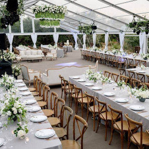 Classic greenhouse wedding reception