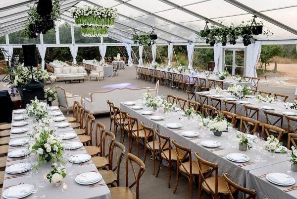 Classic greenhouse wedding reception