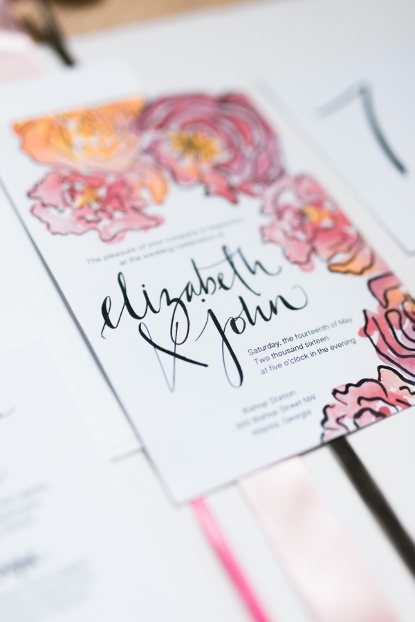 Spring Watercolor Wedding Invitation