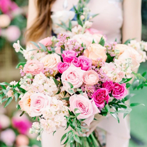 Vibrant pink bridal bouquet