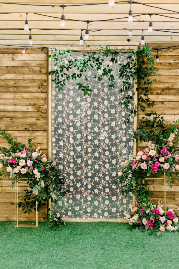 Floral print ceremony backdrop