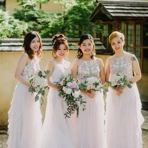 White floral print bridesmaid dresses