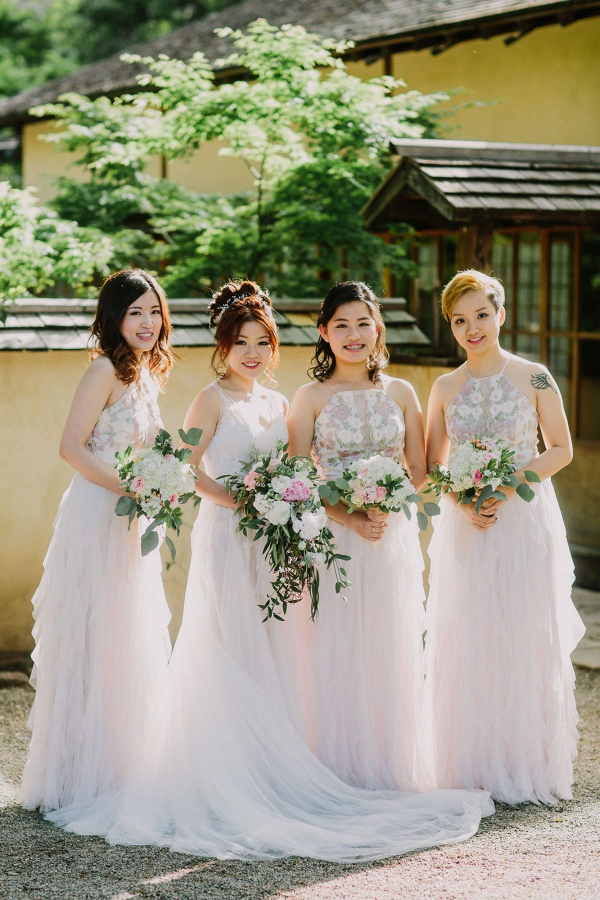 White floral print bridesmaid dresses