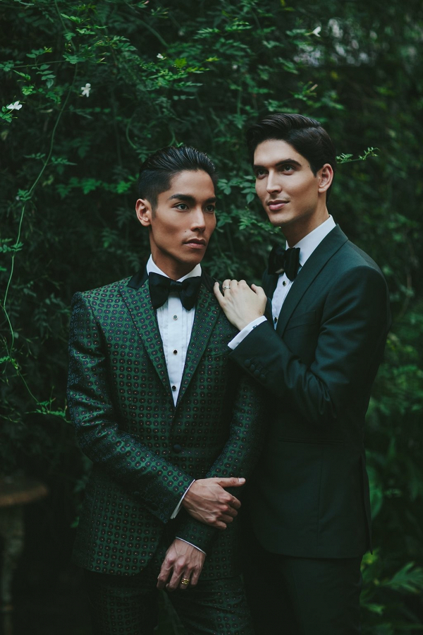Grooms in green suits