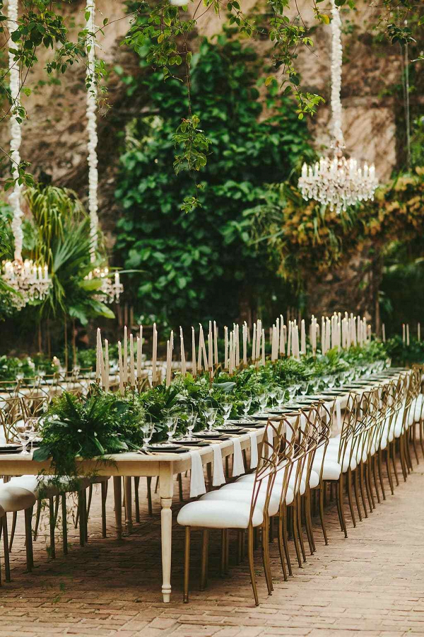 Glam greenery reception