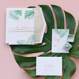 Tropical themed invitation suite