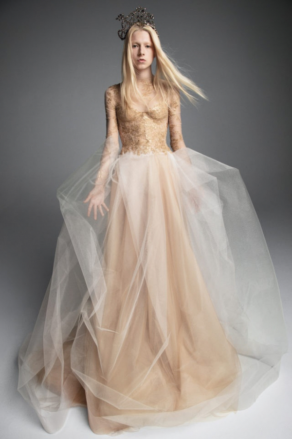 Gold lace and tulle Vera Wang wedding dress