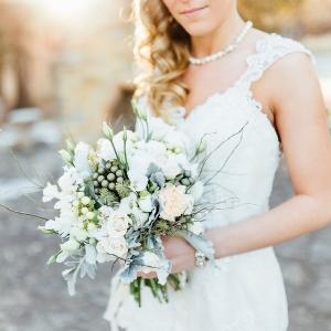 White Grey Winter Bouquet Mansion Shoot