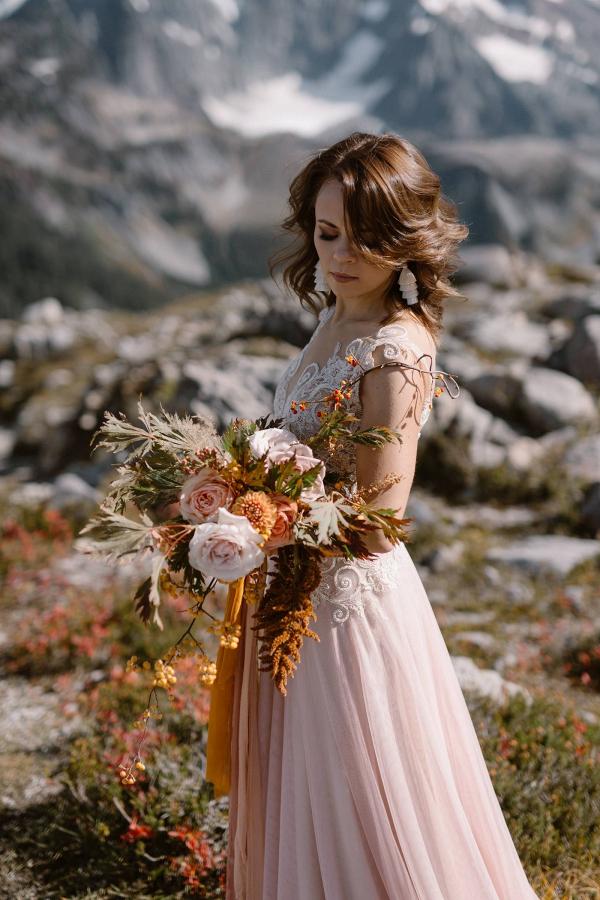 Orange and peach bridal bouquet