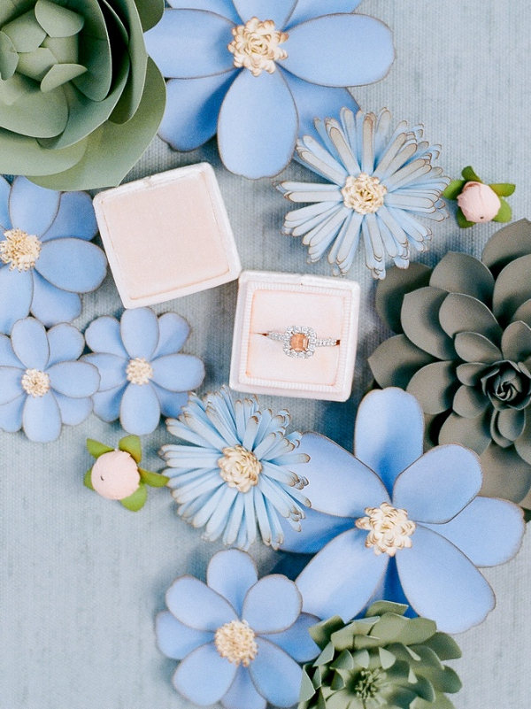 Engagement ring with paper flowers