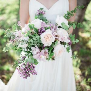 Blush and purple bouquet